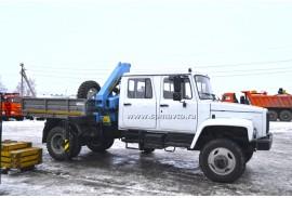Бортовой автомобиль ГАЗ 33086 (4х4) с КМУ Инман ИМ 55