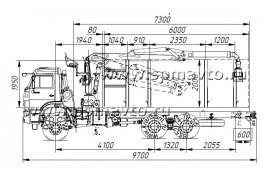 Сортиментовоз 65111 (6х6) с гидроманипулятором ОМТЛ 70-02 (ВЕЛМАШ) за кабиной