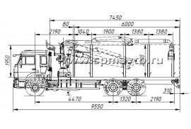 Сортиментовоз КАМАЗ 65115 (6х4) с гидроманипулятором ОМТЛ-97 (ВЕЛМАШ) за кабиной